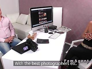 Inexperienced Amateur Older Guy Has Casting Interview With Brunette Female Agent Then She Sucks His Small Cock While Her Assistant Shooting Them In Office