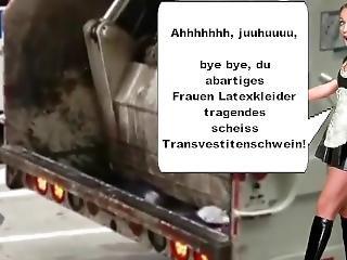 Sexy Latex Maid Sluts Crush Shit Transvestite Pigs In Garbage Trucks