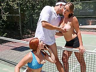 Hot College Babes In A Hot Tennis Group Fuck