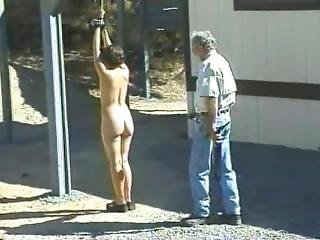 Small Titted Brunette Tied And Whipped Outdoors