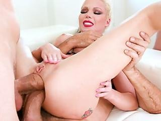 Barbie Sins Squirting While Getting Double Anal Fucked!