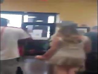 Black Guy Holding His White Slut On A Leash