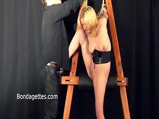 Amateur, Blonde, Bondage, Domination, Dungeon, Gagged, Submissive, Tied