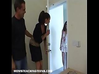 Milf Vanessa And Her Husband Break In A Petite Teens Asshole
