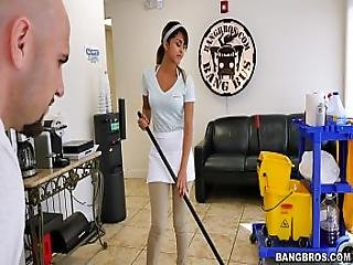 Bangbros - The New Cleaning Lady Swallows A Load