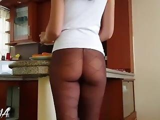 Hot & Sexy Brunette Teen In See-through Pantyhose/no Undies Exposes Her Ass