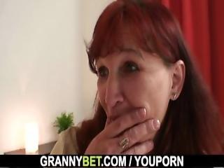 Hot Grandma In Stockings Riding