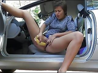 amateur, banane, onanieren, orgasmus, im freien, spritzen