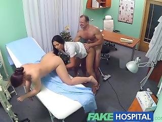 Fake Hospital Sexy Nurse Joins The Doctor And The Cleaner For Threesome