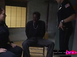 Two Hot Milf Cops Finally Got Their Guy And Decide To Interrogate Him By Taking Turns Fucking His Big Black Cock