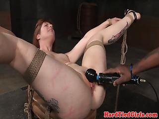 Choked Submissive Strapon Fucked In Asshole
