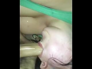 Trashy Amateur Gets Throated By Thick Hog