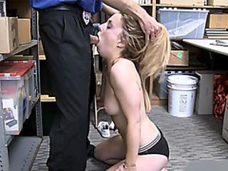 Dumb Blonde Thief Deepthroats A Mall Cops Huge Cock