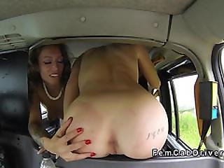 Natural Busty Inked Lesbian Cab Driver