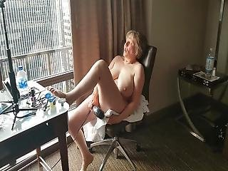 Mature Hotel Window Exhibitionist Cumming So Hard