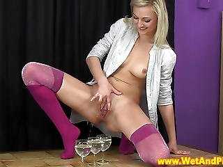 Pretty Piss Drinking Blonde Rubs Her Box