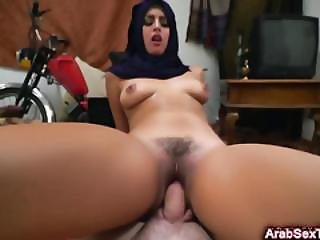 Gorgeous Arab Babe Succumbs To Horny Guy And Gets Furry Pussy Nailed