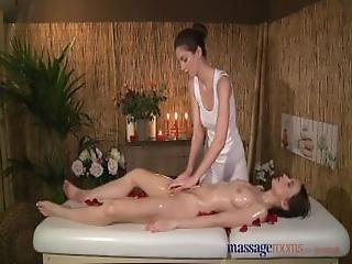Massage Rooms Petite Young Lesbian Has Her Perfect Body Oiled And Fucked