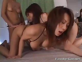 Intense Asian Lesbian Femdom Foursome Bdsm And Strapon With Fifth Watching
