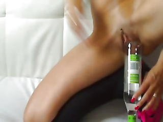 Drunk Milf Fucks A Huge Bottle And Rubber Fist