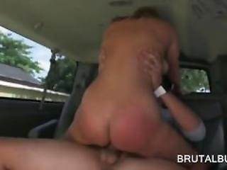Busty Girl Having A Strong Orgasm In The Bus