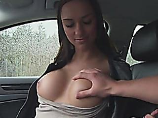Amateur Teen Babe Flashes Her Tits And Fucked In The Car