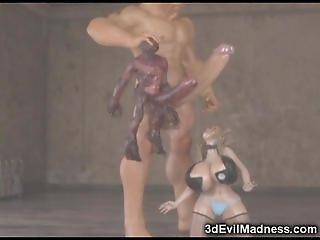 3D Skinny Emo Teen Destroyed by Aliens!