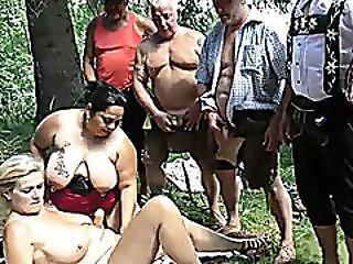 Lederhosen Gangbang With Bbw Chicks
