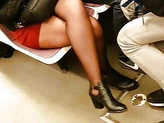 Sheer Black Pantyhose Boots And Miniskirt