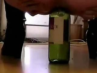 Winebottle In Amateur Ass And Snatch