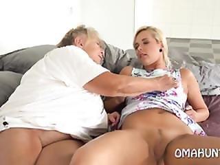 Grandma Has Fun With A Blonde Model