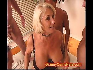 Granny Gets A Gang Bang And Cum Bath