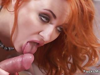 Redhead Milf In Red Bra Fucks Big Cock