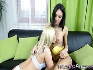 Blonde Buries Her Fist