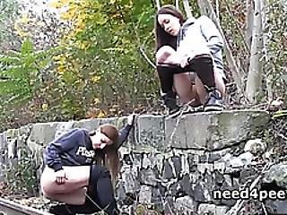 Teen Girlfriends Urinating On The Railway
