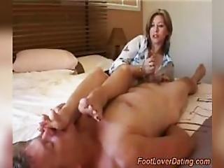Smell Mature Wife Feet And Get Handjob