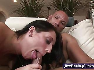 Cuckold Watches His Wife Give A Blowjob