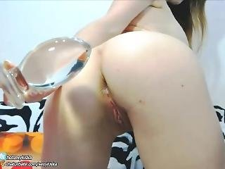 Hot Girl First Time Push Extreme Big Glass Plug In Ass And Nipples Clamp