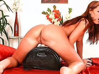Satin Bloom Using Her Multi Speed Sybian To Rub Her Wet Cunt