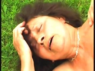Granny Fucks The Pool Cleaner - Hairy - Outdoor