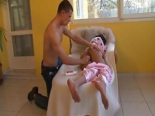 Guy Breeds Sleeping Girl On Chair