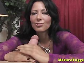 Lingerie milf jerking drivers cock