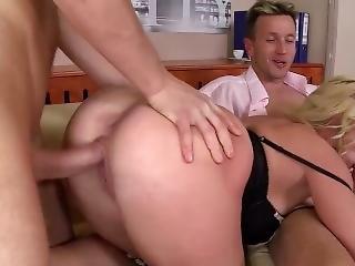 anal, nique, hardcore, louer, star du porno, secrétaire, trio
