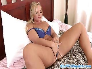 Busty Blonde Fingering Before Riding Guy