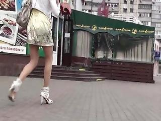 Upskirt Tan Stockings