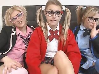 Chloe Toy Three School Girl Lesbian Fuck Fest Part 1