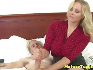 Classy Tugging Cougar With Nice Big Boobs