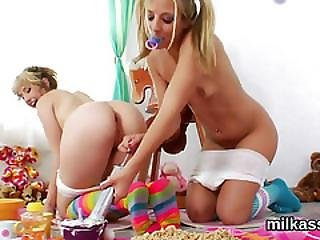 Unusual Lesbos Fill Up Their Monster Asses With Whipped Cream And Squirt It Out