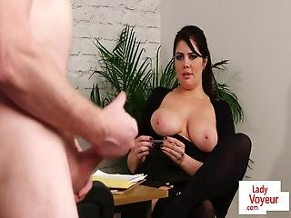 Big Titted British Voyeur Encourages Her Sub
