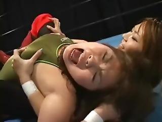 udklædt, japansk, lesbisk, wrestling